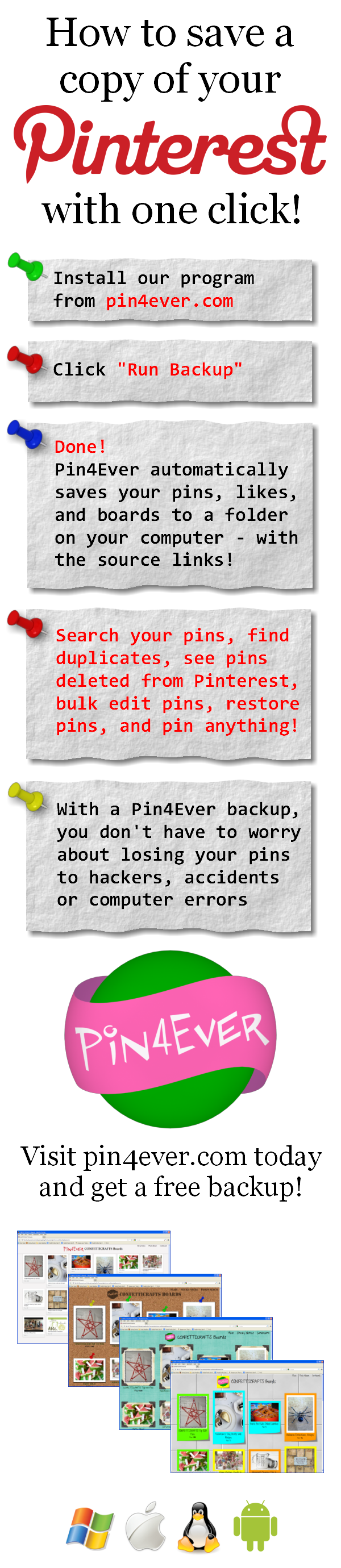 Are your pins protected? Pin4Ever has saved, edited or uploaded 251,186,176 pins since September 2012. Go to pin4ever.com and try it free!
